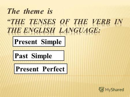 The theme is Present Simple Past Simple Present Perfect.