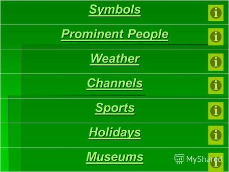Symbols Prominent People Prominent People Weather Channels Sports Holidays Museums.
