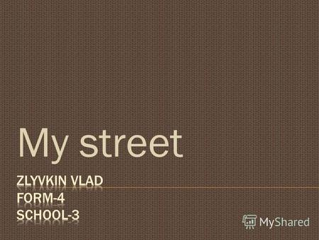 My street My name is Zlyvkin Vlad. I live with my family in a big village Volodarske.