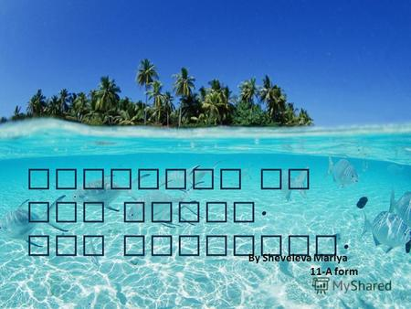 Paradise on the Earth. The Maldives. By Sheveleva Mariya 11-A form.