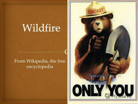 From Wikipedia, the free encyclopedia. A wildfire is an uncontrolled fire in an area of combustible vegetation that occurs in the countryside or a wilderness.