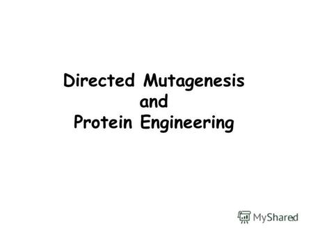 1 Directed Mutagenesis and Protein Engineering. 2 Mutagenesis Mutagenesis -> change in DNA sequence -> Point mutations or large modifications Point mutations.