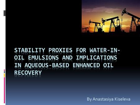 By Anastasiya Kiseleva. Abstract Several researchers have proposed that mobility control mechanisms can positively contribute to oil recovery in the case.