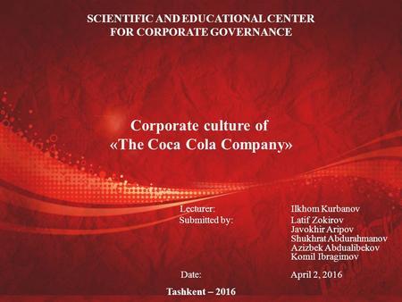 Ethics and governance coca cola