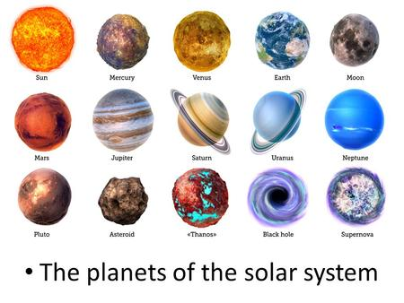 The planets of the solar system.