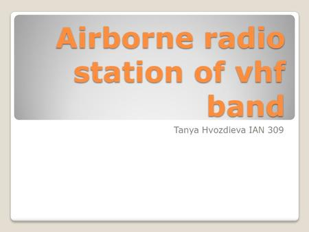 Airborne radio station of vhf band