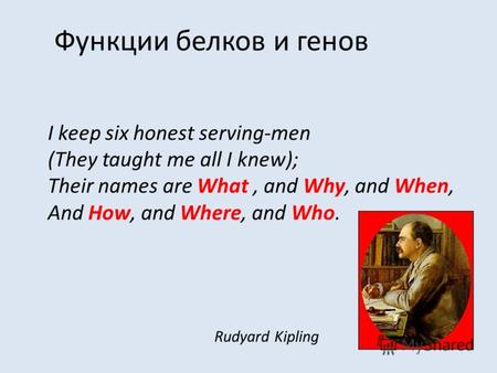 Функции белков и генов I keep six honest serving-men (They taught me all I knew); Their names are What, and Why, and When, And How, and Where, and Who.