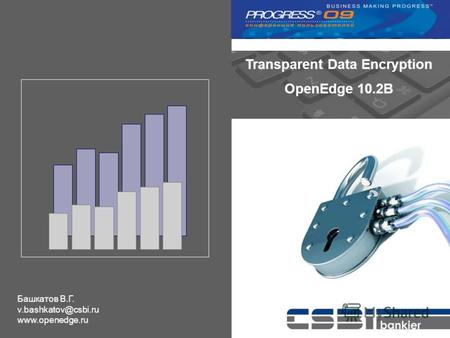 Transparent Data Encryption OpenEdge 10.2B Башкатов В.Г. v.bashkatov@csbi.ru www.openedge.ru.