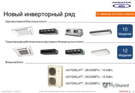 © 2008 Communication Design Division, Air Conditioner Business. Fujitsu General Limited. TENTATIVE LEA_P024E_001 2008/10/10 Новый инверторный ряд Один.