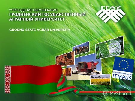 GRODNO STATE AGRAR UNIVERSITY. Reform of High School Education in the Field of Biotechnology: Development of a new BSc / MSc -Curriculum 15/10/2010-14/10/2013.