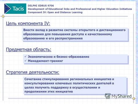DELPHI EDRUS 9706 Development of Educational links and Professional and Higher Education Initiatives Component IV: Open and Distance Learning Внести вклад.