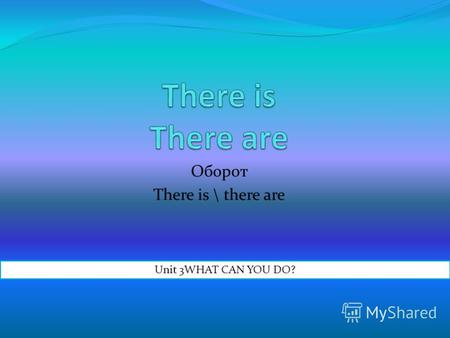 Оборот There is \ there are Unit 3WHAT CAN YOU DO?