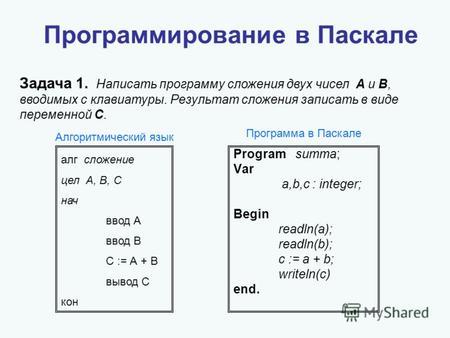 написать программу ввода
