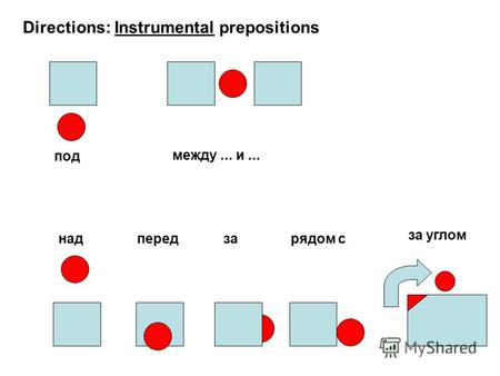 Directions: Instrumental prepositions под между... и... надпередзарядом с за углом.