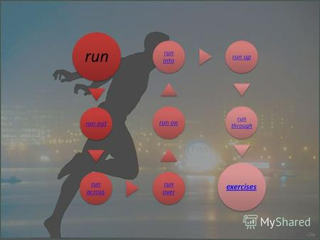 Run run out run across run over run on run into run up run through exercises.