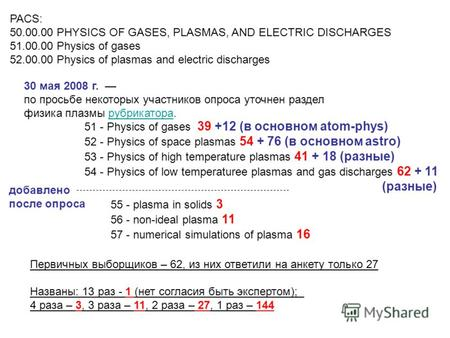 55 - plasma in solids 3 56 - non-ideal plasma 11 57 - numerical simulations of plasma 16 PACS: 50.00.00 PHYSICS OF GASES, PLASMAS, AND ELECTRIC DISCHARGES.