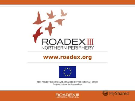 THIS PROJECT IS BEING PART- FINANCED BY THE EUROPEAN UNION European Regional Development Fund www.roadex.org.