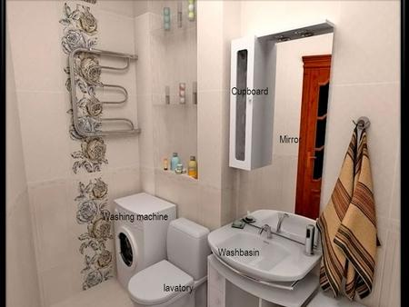 Washing machine Cupboard Bath lavatory Mirror Cupboard Washbasin.