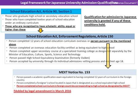 Legal Framework for Japanese University Admission Qualifications Those who graduate high school or secondary education school Those who have completed.