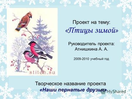 Презентация на тему Проект на тему Птицы зимой Руководитель  Проект на тему Птицы зимой Руководитель проекта Атнишкина А А