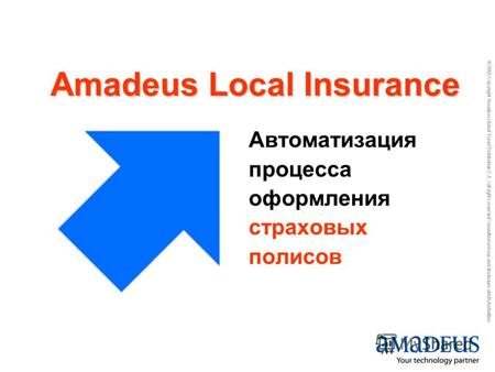 © 2005 Copyright Amadeus Global Travel Distribution S.A. / all rights reserved / unauthorized use and disclosure strictly forbidden Автоматизация процесса.