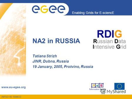 INFSO-RI-508833 Enabling Grids for E-sciencE www.eu-egee.org NA2 in RUSSIA Tatiana Strizh JINR, Dubna, Russia 19 January, 2005, Protvino, Russia.