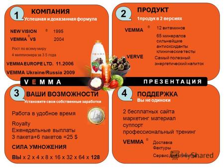 1 КОМПАНИЯ Успешная и доказанная формула NEW VISION 1995 VEMMA VS 2004 Рост по всему миру 4 миллионера за 3.5 года VEMMA EUROPE LTD. 11.2006 VEMMA Ukraine/Russia.