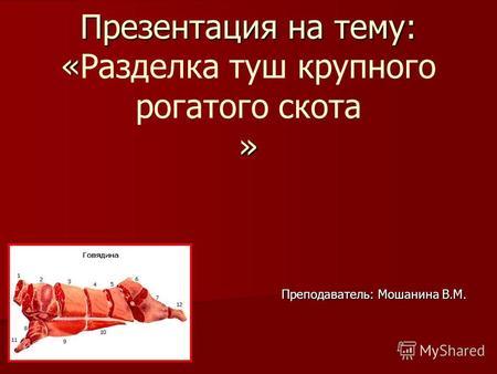 Презентацию на тему технология мясных продуктов