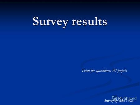 Survey results Total for questions: 90 pupils Survey by class 7 «G»