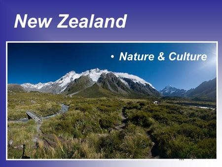 New Zealand Nature & Culture. New Zealand is an island country in the south-western Pacific Ocean comprising two main islands, the North Island and the.