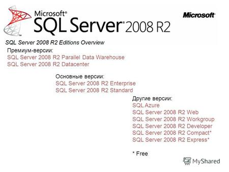 Премиум-версии: SQL Server 2008 R2 Parallel Data Warehouse SQL Server 2008 R2 Datacenter Основные версии: SQL Server 2008 R2 Enterprise SQL Server 2008.