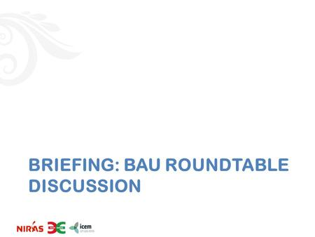 BRIEFING: BAU ROUNDTABLE DISCUSSION. 0. Approach Need to review input data to see if they are correct/accurate/acceptable or not – It is agreed that energy.