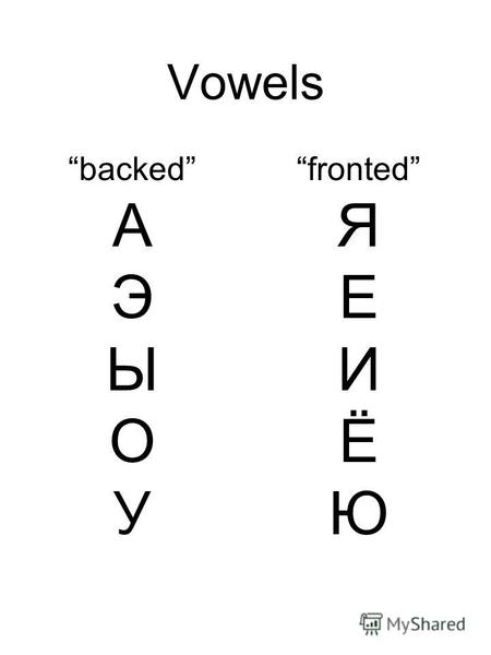 Vowels backed А Э Ы О У fronted Я Е И Ё Ю. Consonants unvoiced П Т К voiced Б Д Г.
