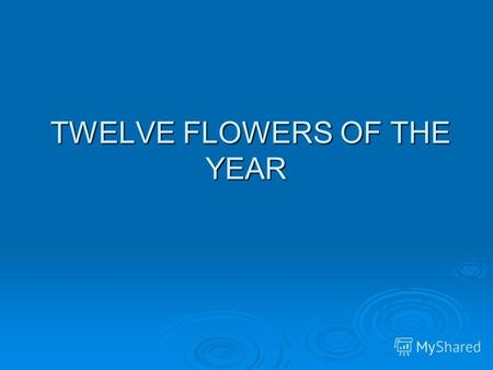 TWELVE FLOWERS OF THE YEAR TWELVE FLOWERS OF THE YEAR.