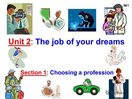 Unit 2: The job of your dreams Section 1: Choosing a profession 1.