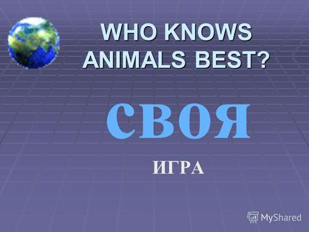 WHO KNOWS ANIMALS BEST? своя ИГРА Wild animals 100 200 300 400 500 Farm animals 100 200 300 400 500 Birds 100 200 300 400 500 Pets 100 200 300 400 500.