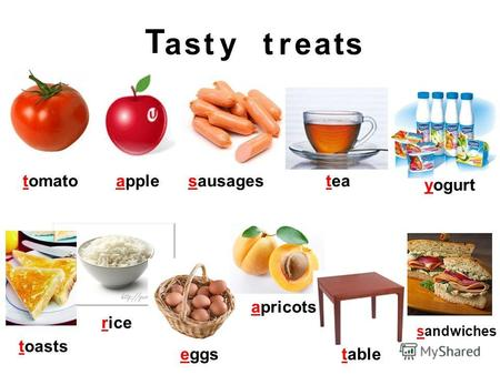 Appletomatosausagestea yogurt toasts rice eggs apricots table sandwiches T asstytreat.