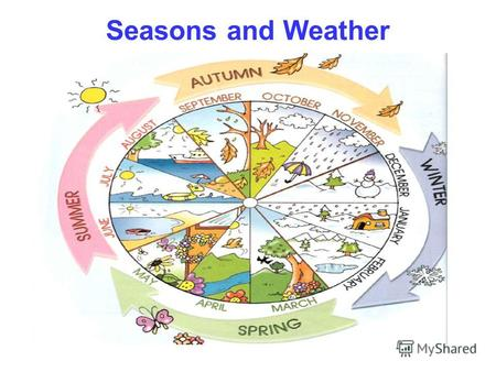 Seasons and Weather. Spring is green, Summer is bright, Autumn is yellow, Winter is white.