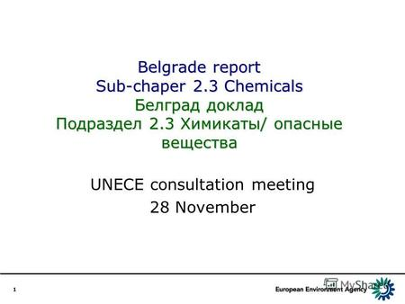 1 Belgrade report Sub-chaper 2.3 Chemicals Белград доклад Подраздел 2.3 Химикаты/ опасные вещества UNECE consultation meeting 28 November.