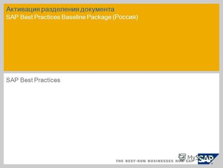 Активация разделения документа SAP Best Practices Baseline Package (Россия) SAP Best Practices.