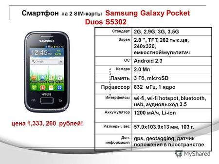 Смартфон на 2 SIM-карты Samsung Galaxy Pocket Duos S5302 цена 1,333, 260 рублей! Android 4.0Android 4.0 Android 4.0Android 4.0 Android 4.0Android 4.0 Android.