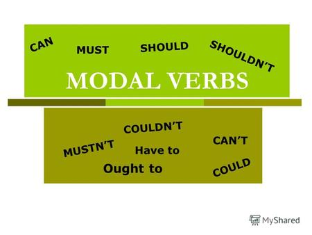 MODAL VERBS CAN COULD MUST SHOULD CANT MUSTNT SHOULDNT COULDNT Ought to Have to.