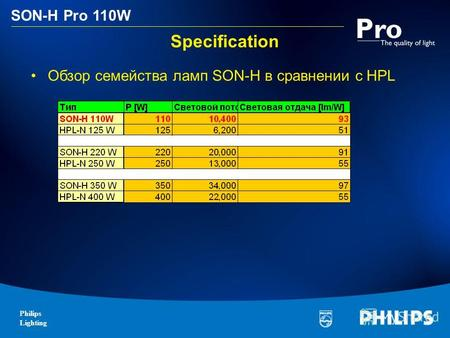 Philips Lighting SON-H Pro 110W Specification Обзор семейства ламп SON-H в сравнении с HPL.