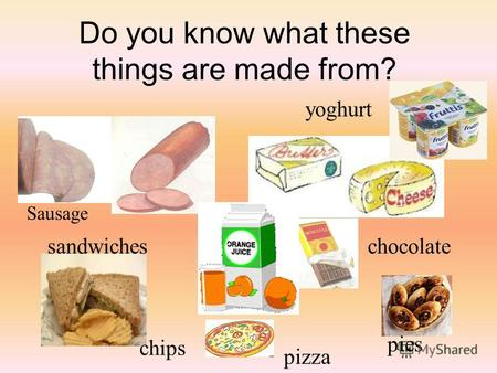 Do you know what these things are made from? Sausage sandwiches chips chocolate pizza pies yoghurt.