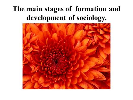 The main stages of formation and development of sociology.