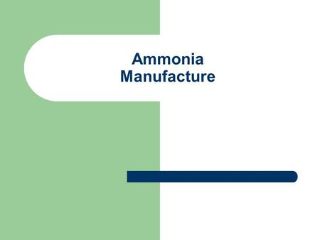 Ammonia Manufacture. Introduction Ammonia is compound of nitrogen and hydrogen with formula NH 3. At standard temp. (25 o C) and pressure (1 atm) ammonia.