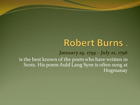 Robert Burns poet