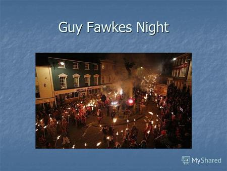 Guy Fawkes Night. The history Guy Fawkes Night, also known as Bonfire Night or Firework Night, is an annual festival which takes place on 5 November,