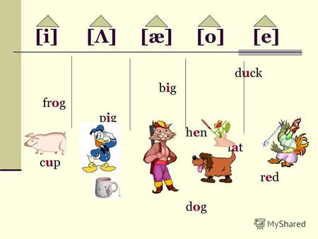 [i] [Λ] [æ] [o] [e] duck big frog pig hen fat cup red bad dog.