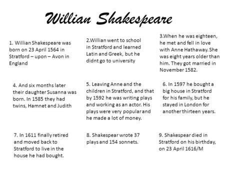 Willian Shakespeare 1. Willian Shakespeare was born on 23 April 1564 in Stratford – upon – Avon in England 2.Willian went to school in Stratford and learned.